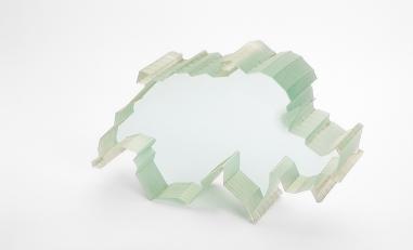 Waterjet cutting of glass.